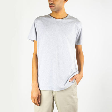 Round neck grey 100% cotton tee.