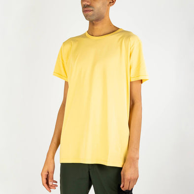 Round neck yellow 100% cotton tee.