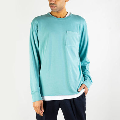 Aqua green longsleeve with front pocket and logo on the back.