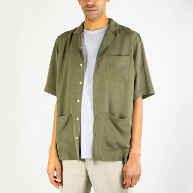 Olive green version of the Hawaiian shirt.