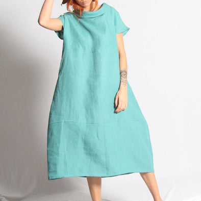 Turquoise oversized dress.