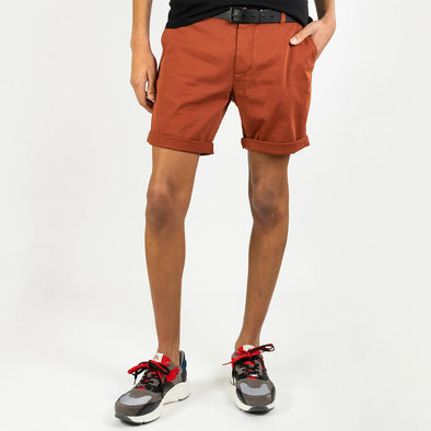 Brick colored regular fit shorts with a light tone on tone texture.