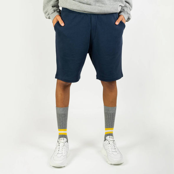 Navy blue comfortable sweatshorts with two side pockets.