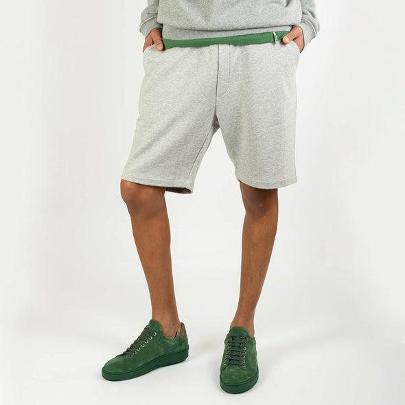 Grey comfortable sweatshorts with two side pockets.