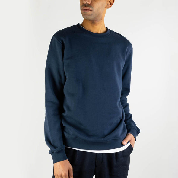 Blue regular fit sweatshirt with a contrast logo was embroidered on the left bottom.