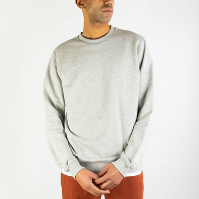Grey regular fit sweatshirt with a contrast logo was embroidered on the left bottom.