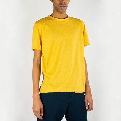 Yellow regular fit tone-on-tone logo t-shirt with a T-Line tone-on-tone stitching on the back.