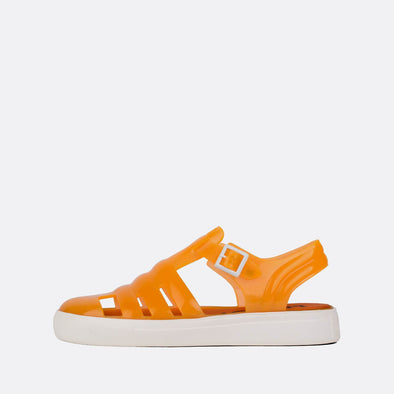 Translucid neon orange synthetic 90s style sandals.