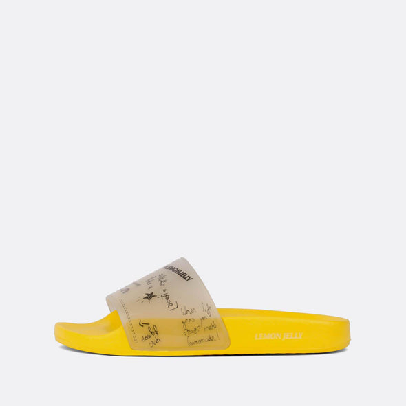 Yellow pool slides with detailed transparent strap.