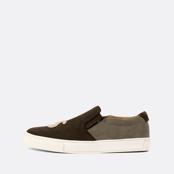Casual slip-on sneakers in dark brown and grey suede with Wolf & Son's initials.