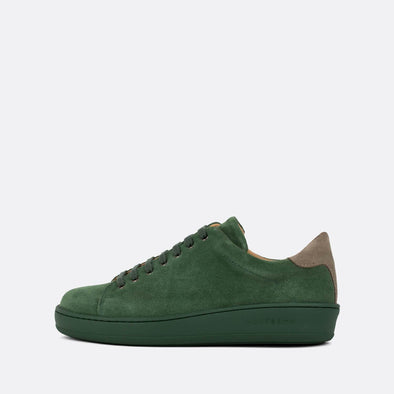 Casual green suede low-top sneakers with grey panels and green sole. Made in Portugal. Free shipping to selected European countries.