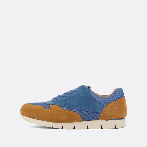 Classic-style runners in paneled camel and blue suede and cornflower blue mesh.