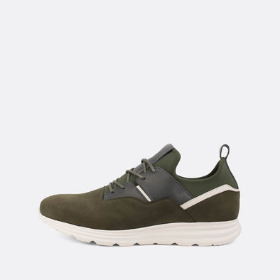 Charcoal green suede runners with leather and neoprene details.