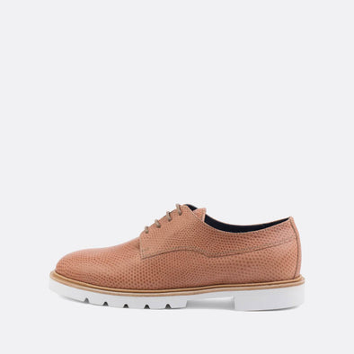 Dusty pink textured derby flat shoes.