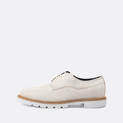 Eggshell textured derby flat shoes.