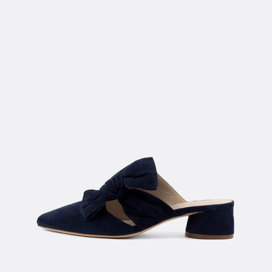 Navy blue elegant mules with a long flowing lace and round heel.