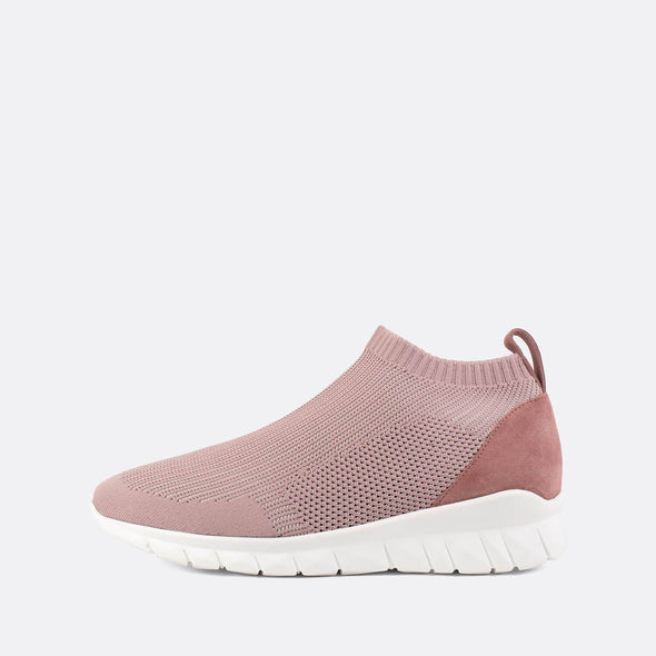 Stretchy sock sneakers in a light pink shade.