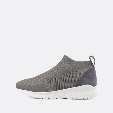 Stretchy sock sneakers in a grey shade.