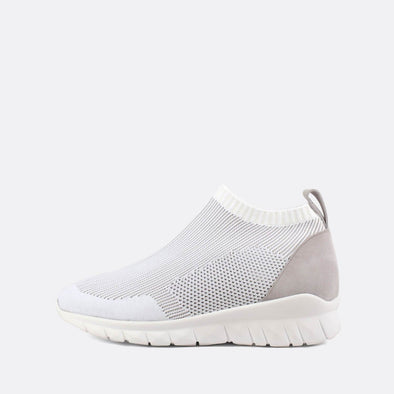 Stretchy sock sneakers in white.