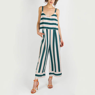 Wide leg jumpsuit in teal, off white and terracotta stripes.