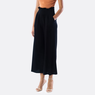 Black wide leg culottes with pleated detail on the waist and side pockets.