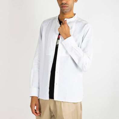 Minimalist white shirt with a mandarin collar.