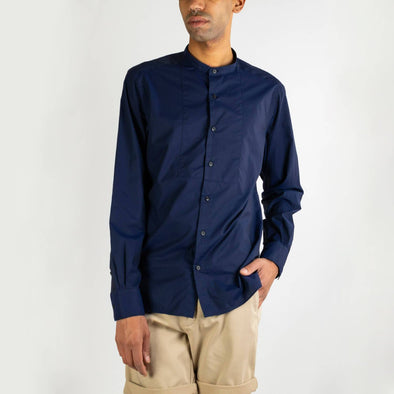 Minimalist navy blue shirt with a mandarin collar.