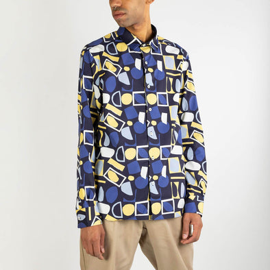Fun multicolored long sleeved shirt  created in collaboration with the artist Elleonor.