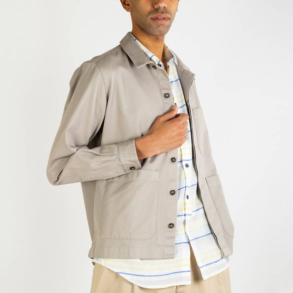 Shirt interpretation of the French Worker's Jacket in sand color.