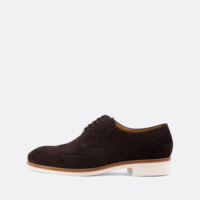 Elegant dark brown suede oxford shoes with white sole.