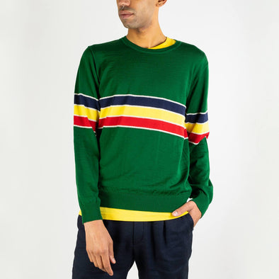 Graphic intarsia knitted jumper in light and extrafine merino wool with contrasted stripes on body and sleeves.