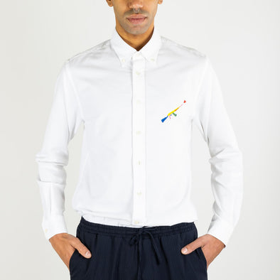 Slightly fitted shirt in cotton fabric with a special seasonal embroidery on chest.
