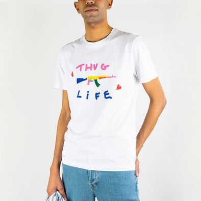 Crewneck t-shirt in soft cotton jersey with a seasonal serigraphy on chest.