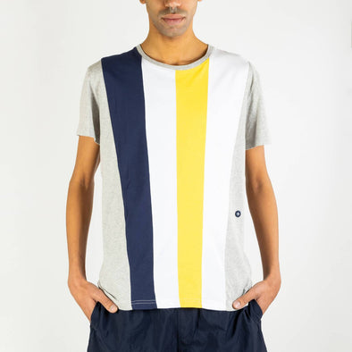Jersey knitted patchwork tee with vertical pannels of coloured jersey.