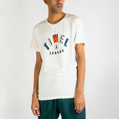 Basic fit white t-shirt with decorative multicolor text print.