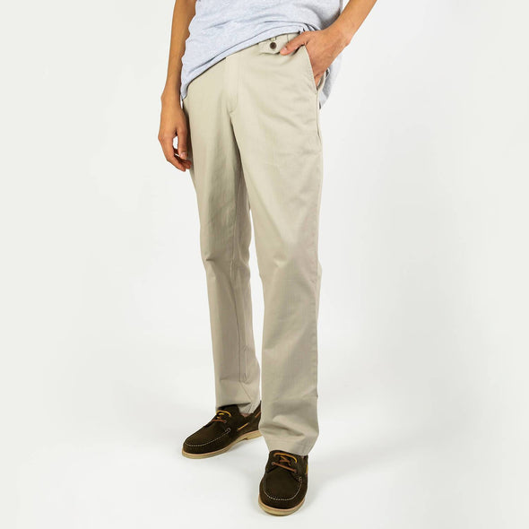 Grey smart-casual trousers with 2 reverse welt pockets and a small coin pocket to the front waist area.