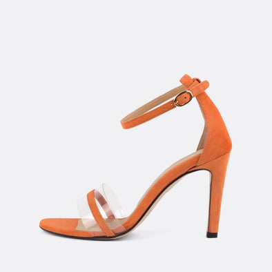 Peach suede sandals with stiletto heel and vinyl detail.