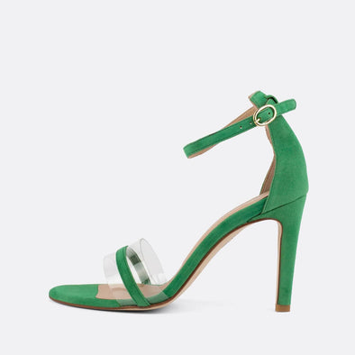 Green suede sandals with stiletto heel and vinyl detail.