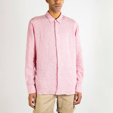 Pink Italian linen shirt with inside chest pocket and natural mother-of-pearl buttons.