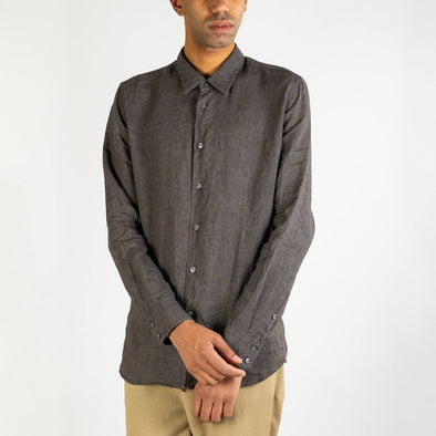 Brown Italian linen shirt with inside chest pocket and natural mother-of-pearl buttons.