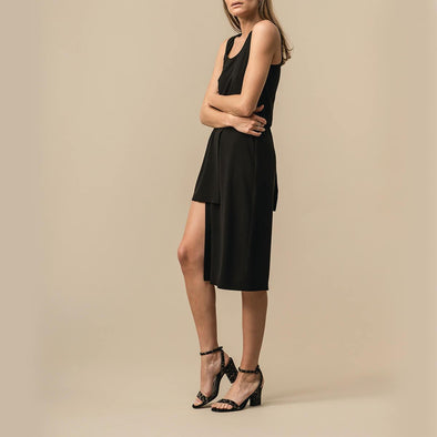 Black midi dress with a long slit and two layered skirt.