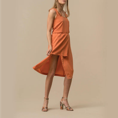 Coral midi dress with a long slit and two layered skirt.