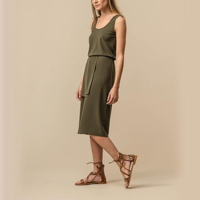 Olive green midi dress with a long slit and two layered skirt.