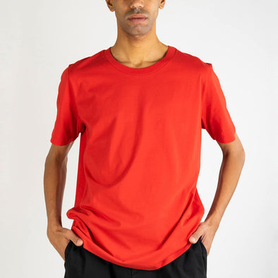 Red 100% premium organic cotton t-shirt with invisible stab stitch at hems.
