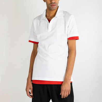 White 100% extra fine organic slim fit pique knit poloshirt.