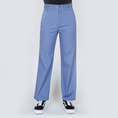 Light blue high rise pants with four pocket, a straight leg fit and a hidden zip closure.
