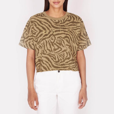 Animal print crop top with a round neck and OBEY embroidery.