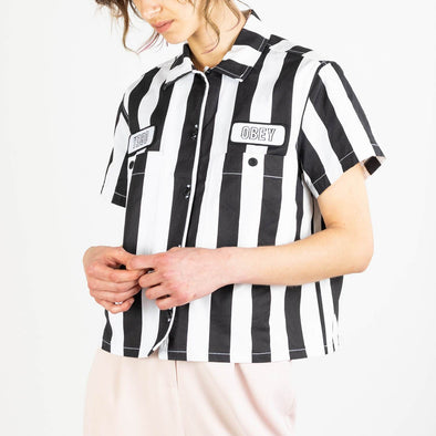 Retro black and white boxy cropped shirt with two embroidered OBEY logos.