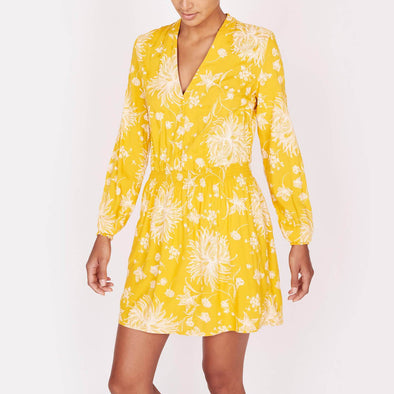 Relaxed fit floral print dress with long sleeves and a front placket.