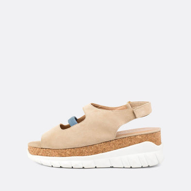 Flatform sneaker sandals in beige suede with soft calf leather insole.